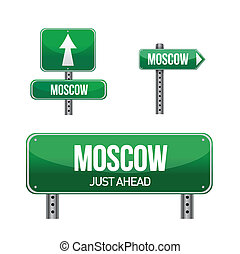 Moscow Russia city road sign illustration design over white