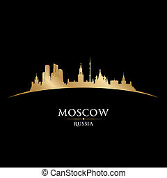 Moscow Russia city skyline silhouette black background -...