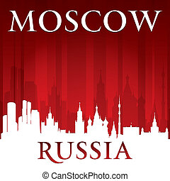 Moscow Russia city skyline silhouette red background -...