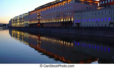 Moscow Russia city view from river channel. 4K.