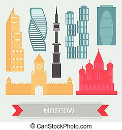 Moscow Russia - Color Buildings icon set. Vector. Travel and...