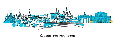 Moscow, Russia, Colored Panorama, Filled with Blue Shape and...