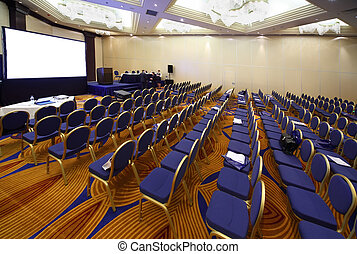 MOSCOW, RUSSIA - DECEMBER 16: Empty conference hall during...
