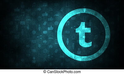 Motion icons of Tumblr social network on simple background