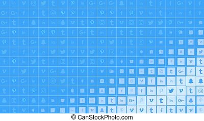 Motion icons of social networks on simple background