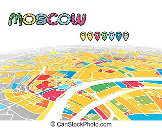 Moscow, Russia, Downtown 3D Vector Map of Famous Streets....