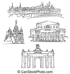 Moscow, Russia, Famous Buildings, Monochrome Outlined Travel...