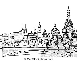 Moscow, Russia famous Travel Sketch. Lineart drawing by...