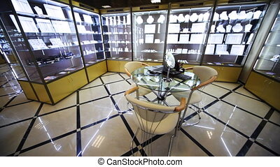 Showroom and table for testing jewelry in salon Estet -...