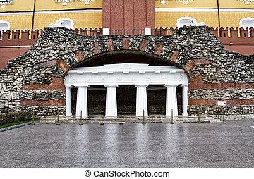 MOSCOW, RUSSIA -Grotto Ruins in Alexander Garden