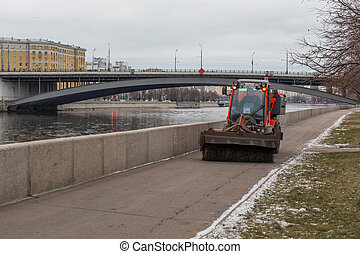 Moscow, Russia - January 7, 2020: Urban street cleaning from...