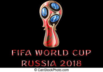 Moscow, Russia, June 14 2018, FIFA - red metallic shiny word text with official color logo of the football world championship cup in Russia 2018, luxury concept on black background, only editorial use