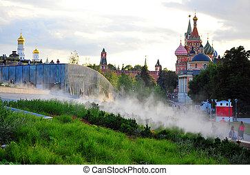 View of Moscow kremlin from Zaryadje park