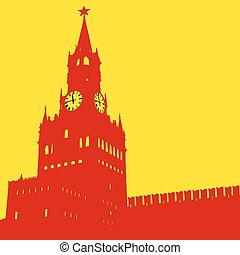 Moscow, Russia, Kremlin Spasskaya Tower with clock - Moscow,...