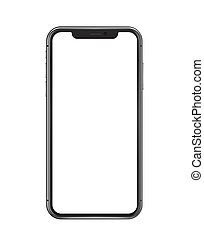 Moscow / Russia - March, 20, 2021: Black iphone 11 pro design, Smartphone with white screen on white background