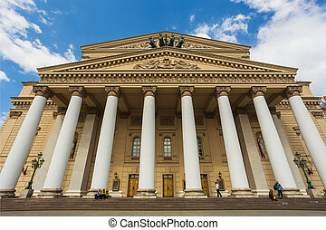 View of the Bolshoi Theatre in Moscow by the fountain