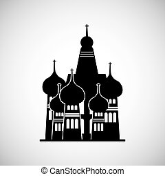 moscow russia momument - silhouette of St Basil Cathedral in...