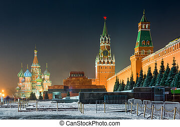 Moscow, Russia - night shot of Red Square - view of the...