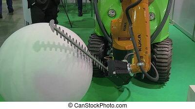 On exhibition Robotix expo seen industrial robot Kuka -...