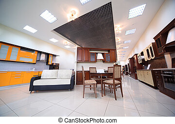 MOSCOW, RUSSIA - NOVEMBER, 5: Various kitchen furniture sets in section of furniture store on November 5, 2010 in Moscow, Russia. Furniture industry - is more than 10% of production forestry.