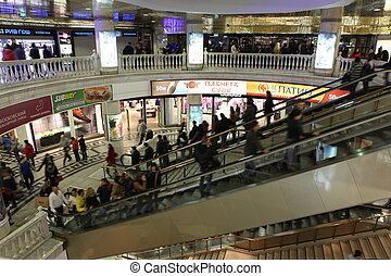 MOSCOW, RUSSIA - OCT 5: underground shopping center Okhotny Ryad on October 5, 2013 in central district of Moscow, Russia. There are more 100 stores and it is popular for international tourists