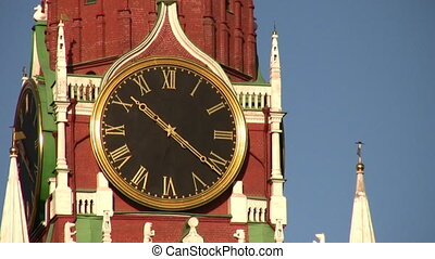 MOSCOW, RUSSIA - OCTOBER 10: Tower with clock. Zoom. October 10, 2008 in Moscow, Russia.