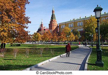 Alexander Garden and Moscow kremlin in autumn day