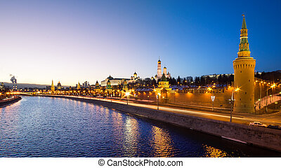 Moscow, Russia: Panorama of Kremlin in the evening