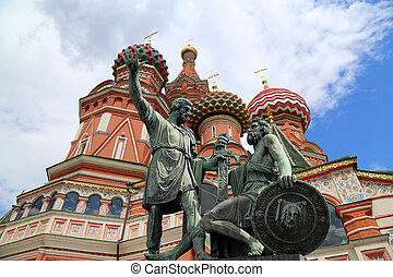 Moscow, Russia, Red Square, Cathedral of Intercession of Most Holy Theotokos on the Moat ( Temple of Basil the Blessed),   Minin and Pojarsky monument (was erected in 1818)