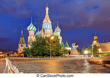 Moscow, Russia - Red square view of St. Basil's Cathedral at night, nobody