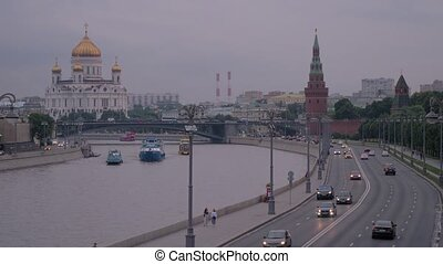 Moscow, Russia. Road along the Kremlin embankment in the historical center of Moscow