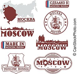 Moscow, Russia - set of skylines and emblems
