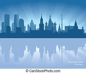 Moscow, Russia skyline illustration with reflection in water