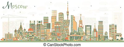 Moscow Russia Skyline with Color Buildings. Vector...