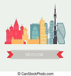 Moscow Russia Skyline with Color Buildings. Vector. Travel and Tourism