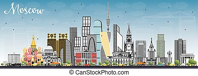 Moscow Russia Skyline with Gray Buildings and Blue Sky....