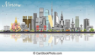 Moscow Russia Skyline with Gray Buildings, Blue Sky and...