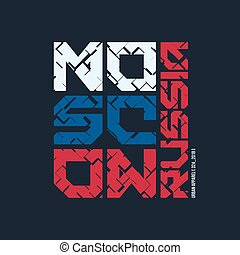 Moscow Russia styled vector t-shirt and apparel design,...