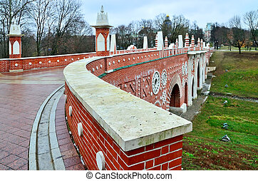 Moscow, Russia, Tsaritsyno - November 19, 2018: Great bridge over the ravine,  Gothic bridge. Palace and Park ensemble in the South of Moscow