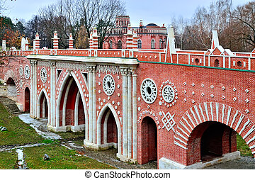 Moscow, Russia, Tsaritsyno - November 19, 2018: Great bridge over the ravine (Gothic bridge). Palace and Park ensemble in the South of Moscow