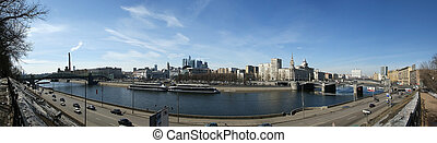 Moscow, Russia. View from the embankment of the Moskva River in the Kievsky train station, international business centre and bridges