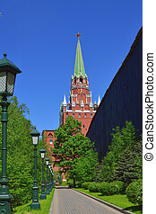 Moscow, Russia - view of Kremlin's Trinity Tower from Alexander Park