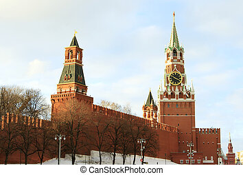 Kremlin Spasskaya tower on Red Square - Moscow, Russian...