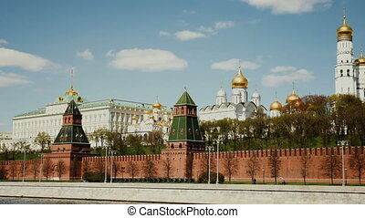 Moscow Russian Federation. The Moscow Kremlin in moving along the wall. FHD stock footage.