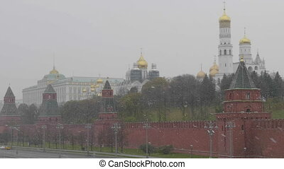 Moscow Russian Federation. The Moscow Kremlin in moving along the wall.