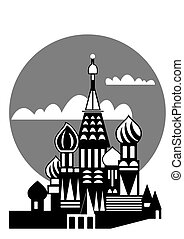 Moscow - Russian Orthodox church - Illustration of the...