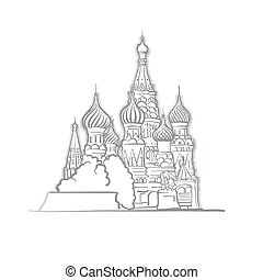 Moscow Saint Basils Cathedral Sketch. Line Art drawing by...