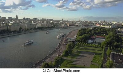 Moscow scene with river, park and bridge. Aerial view -...