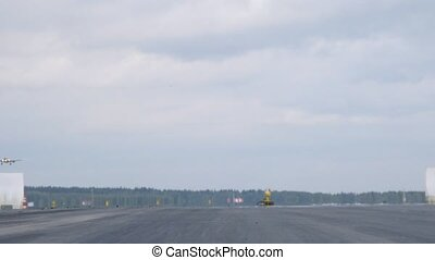 Plane AEROFLOT go on take-off field, where planes fly up and...