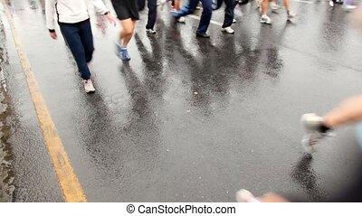 Lot people running legs in XXX Moscow International Peace Marathon